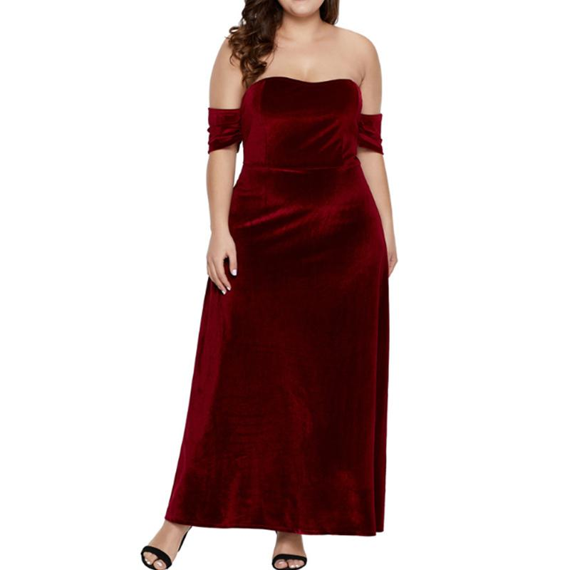 Plus-Size Sexy Solid Color One Word Neck Dress