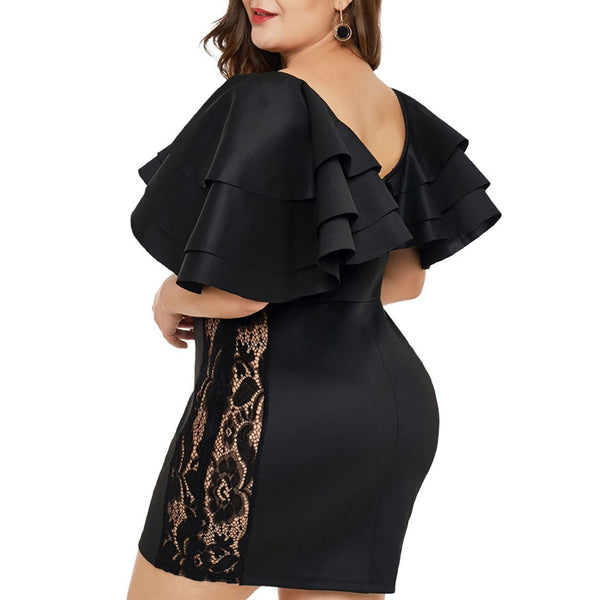 Plus Size Commuting Ruffled Lace Hollow Out Package Buttocks Dress