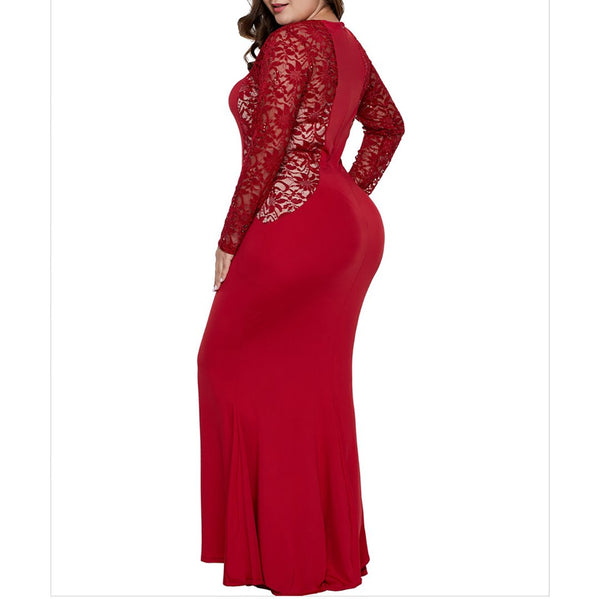 Plus Size Commuting Round Neck Lace Long Sleeve Dress
