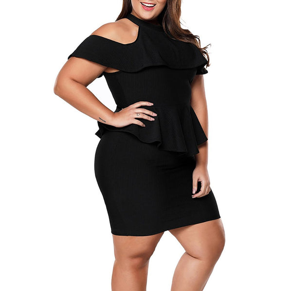 Plus Size Commuting Off-Shoulder Ruffled Package Buttocks Dress