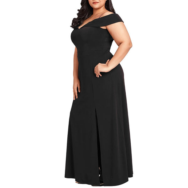 Plus Size Irregular Boat Neck Braces Pure Colour Dress