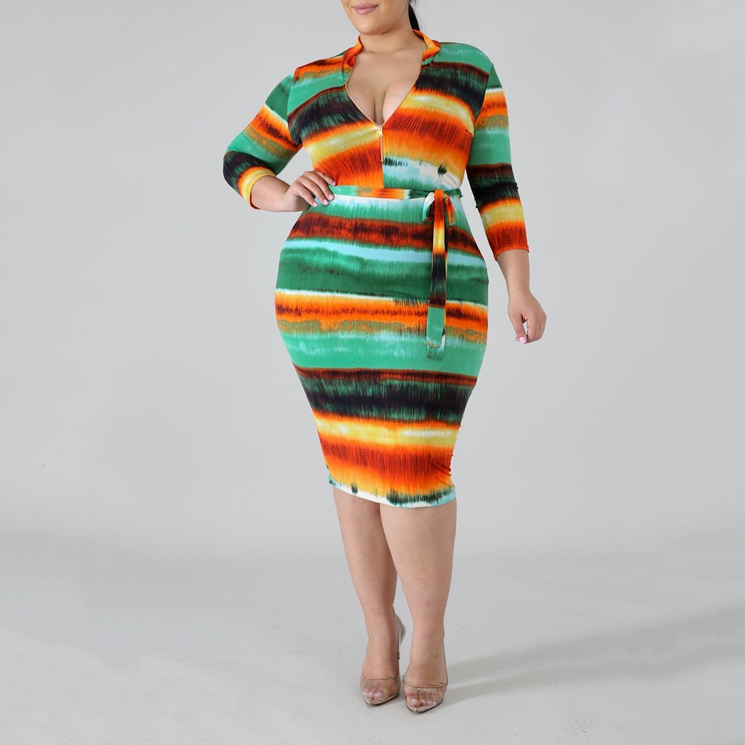 Plus Size Sexy V Neck Belted Printed Colour Package Buttocks Dress