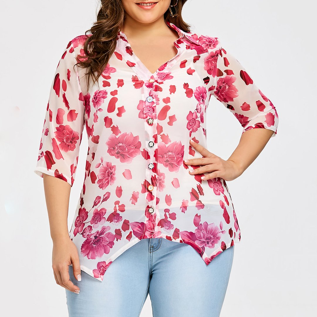 Plus Size Commuting Turndown Collar Printed Colour Blouse