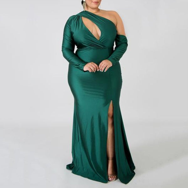 Plus Size Commuting Slit Hollow Out Pure Colour Dress