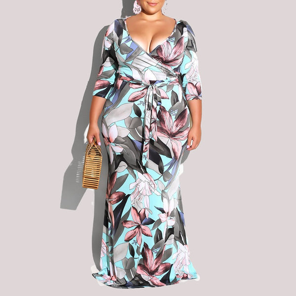 Plus Size Commuting Striped V Neck Printed Colour Dress