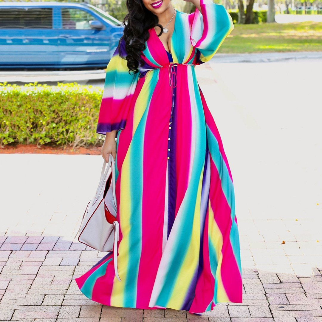 Plus Size Casual V Neck Belted Printed Color Dress