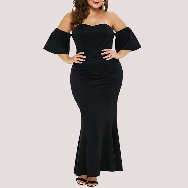 Plus Size Sexy Off-Shoulder Short Sleeve High-Waist Dress