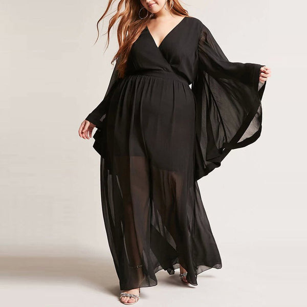 Plus Size Casual V Neck See-Through Pure Colour Dress