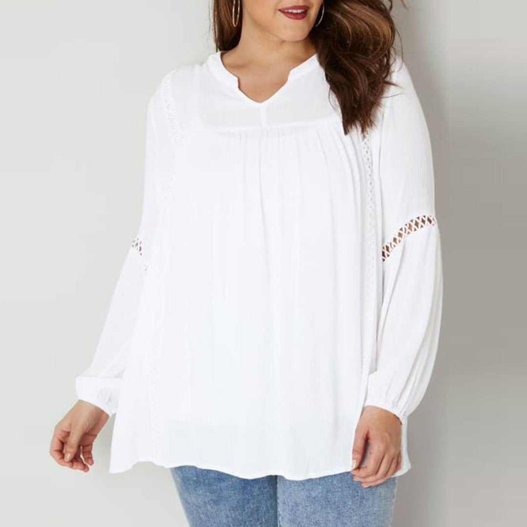 Plus Size Commuting Hollow Out Pure Colour Long Sleeve Blouse