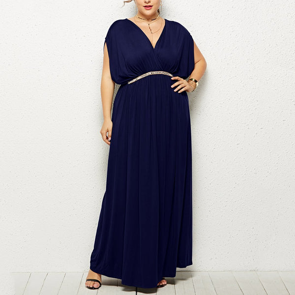 V Neck Pleated Pure Colour Dress
