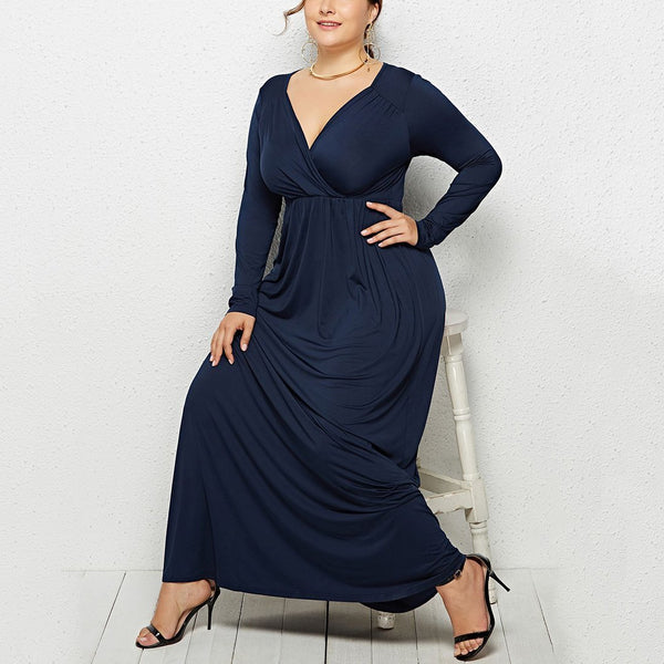 Plus Size Commuting V Neck  Long Sleeve Pleated Pure Colour Dress