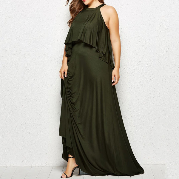 Plus Size Commuting Round Neck Irregular Ruffled Sleeveless Dress