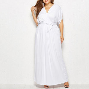 Plus Size Commuting V Neck Belted Batwing Sleeve Dress