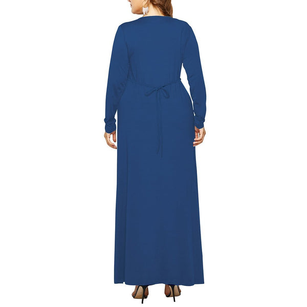 Plus Size V Neck Long Sleeve Pleated Pure Colour Dress