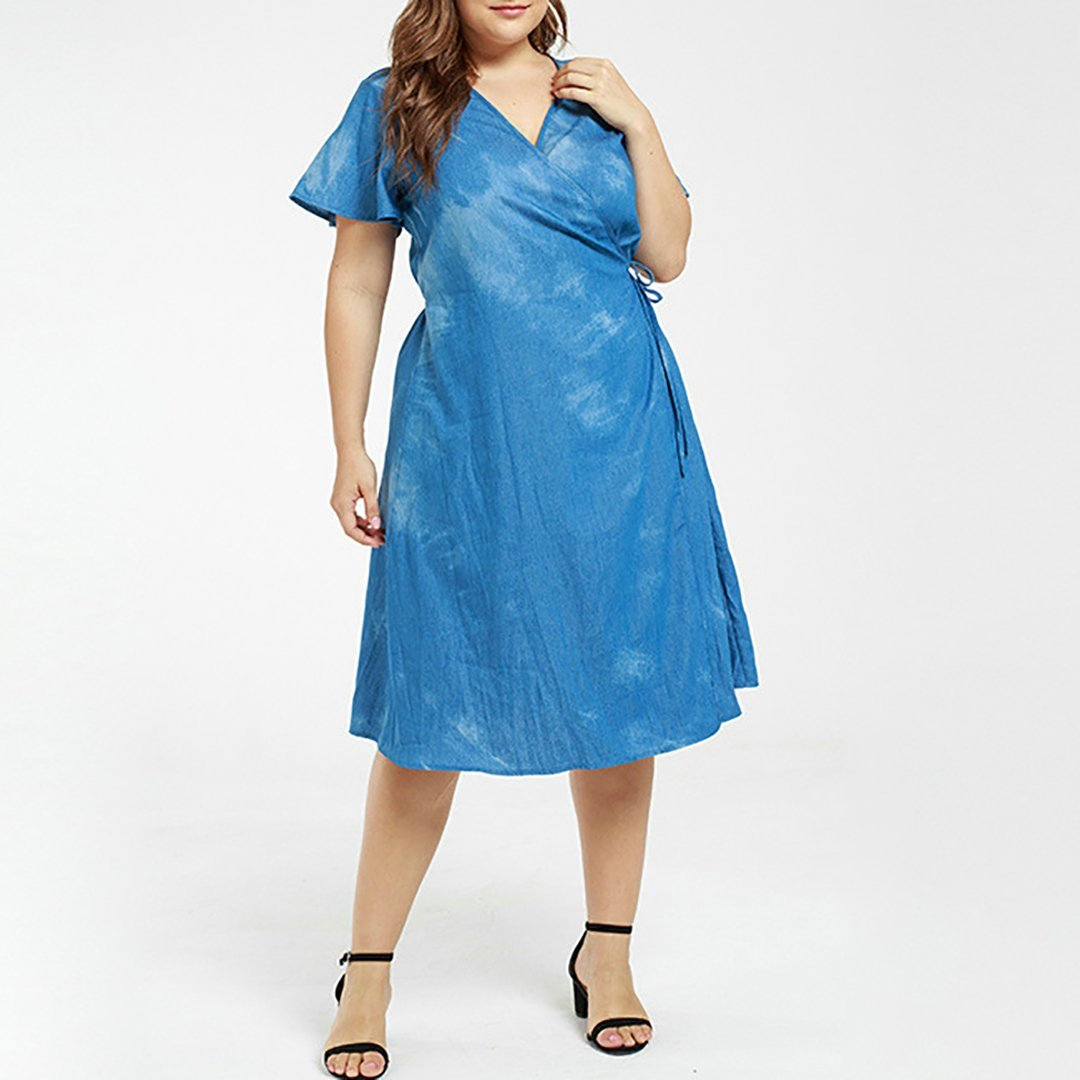 Plus Size Commuting V Neck Belted Pure Colour Dress