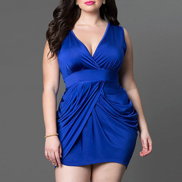 Plus Size Commuting V Neck Sleeveless Pleated Pure Colour Dress