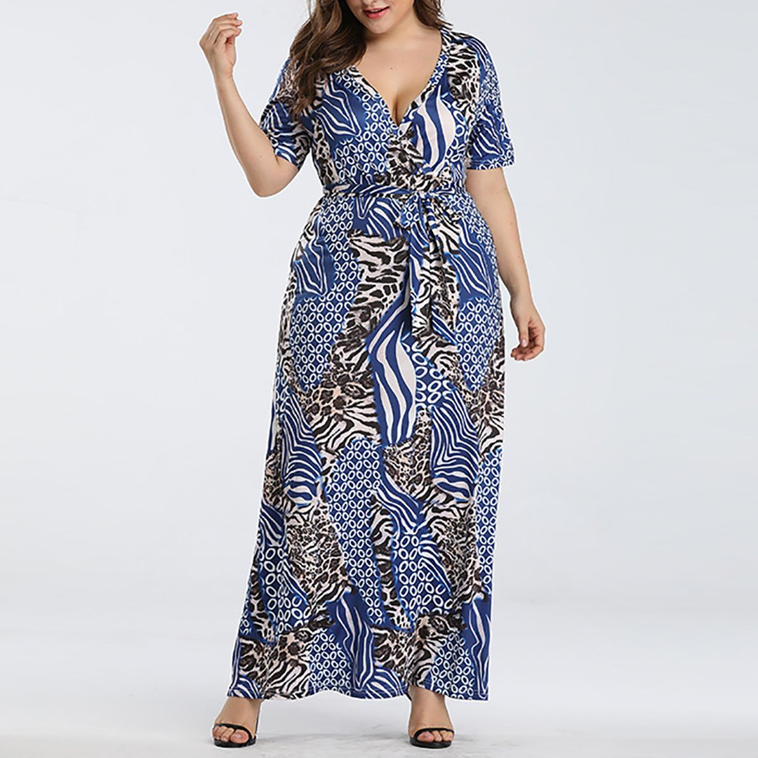 Plus Size Commuting V Neck Short Sleeve Printed Colour Dress