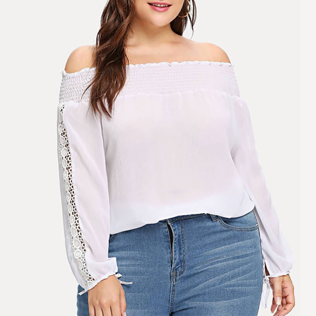 Plus Size Casual Boat Neck Lacework Hollow Out Long Sleeve Top