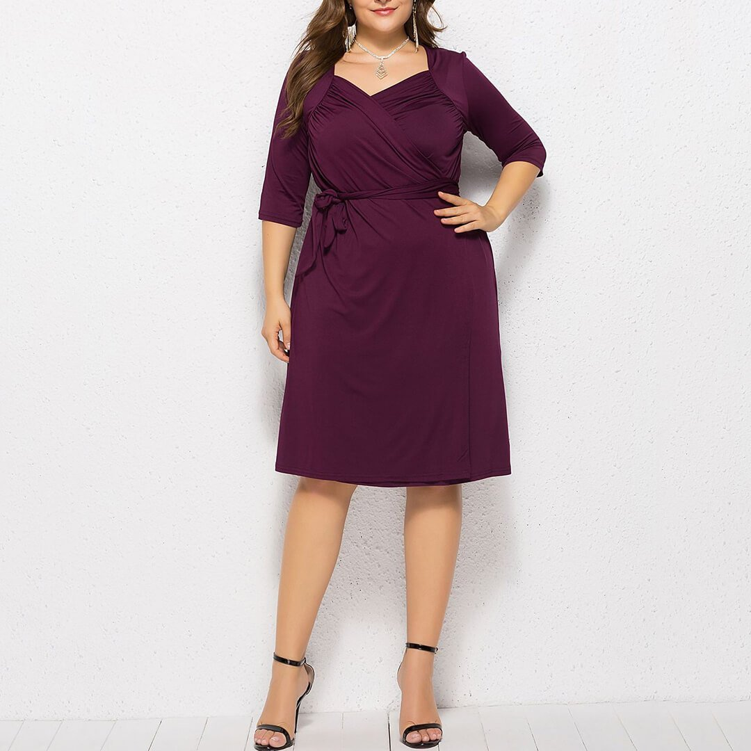 V Neck Pleated Lace-Up Pure Colour Dress