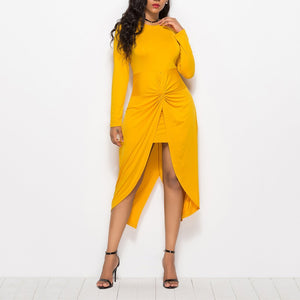 Plus Size Sexy Irregular Round Neck Long Sleeve Pleated Pure Colour Dress Yellow