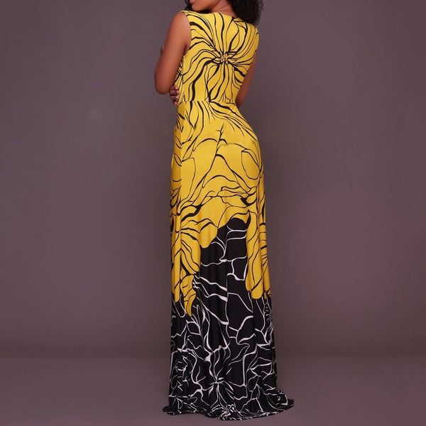 V Neck Sleeveless Pleated Printed Colour Dress Yellow
