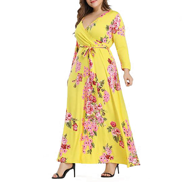 Plus Size Commuting V Neck Long Sleeve Printed Colour Dress Yellow
