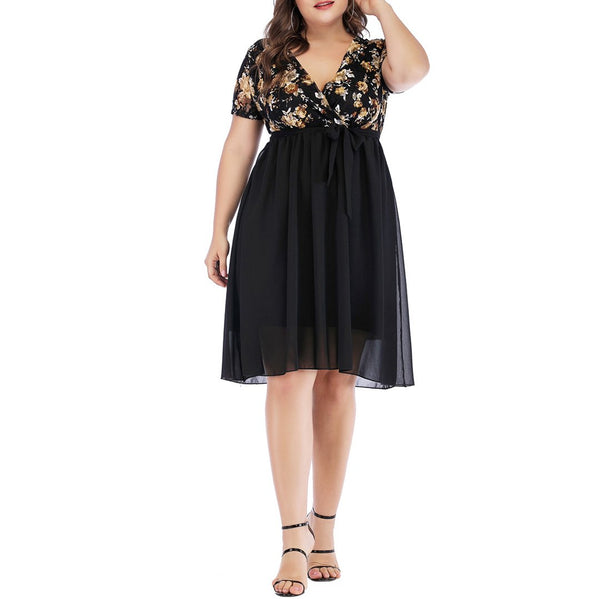 Plus Size Commuting V Neck Short Sleeve High-Waist Lace-Up Printed Colour Dress