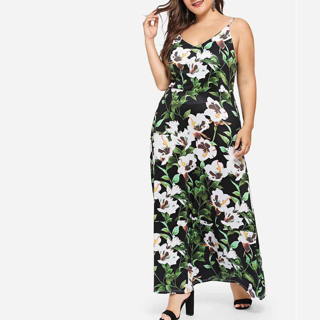 Plus Size Casual V Neck High-Waist Printed Colour Braces Dress