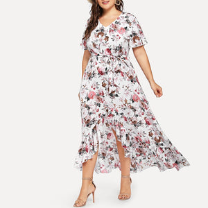 Plus Size Commuting V Neck Irregular Ruffled Printed Colour Dress