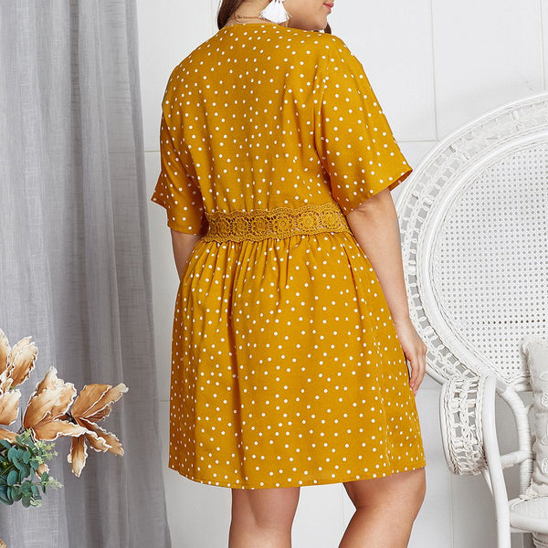 Plus Size Commuting V Neck Short Sleeve Hollow Out Polka Dot Dress