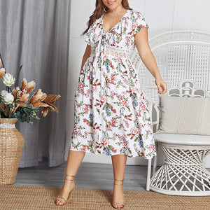 Plus Size Commuting V Neck Lacework Hollow Out Lace-Up Floral Pattern Dress