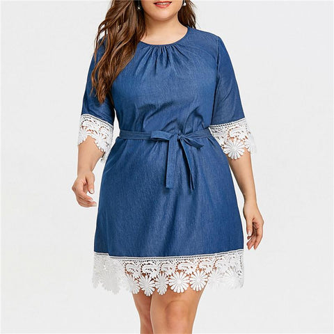 Plus Size Fashion Lace Stitching Denim Dress
