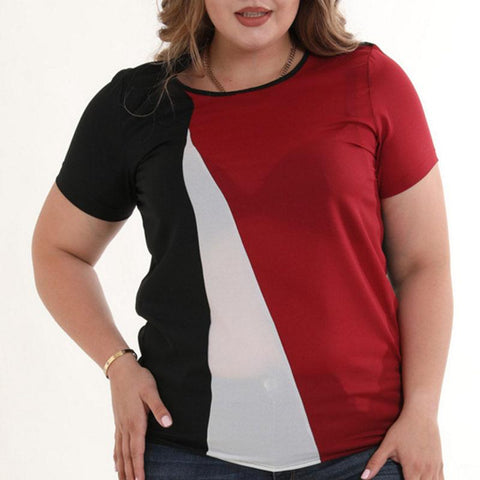 Chiffon T-Shirt With Short Sleeves And Diagonal Stitching T-shirt
