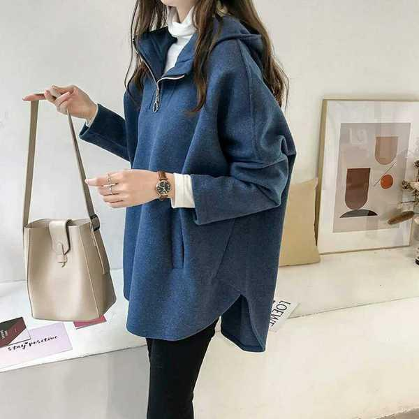 Loose BF Wind Hooded Hooded Sweater Female Long Sleeve Thick Coat