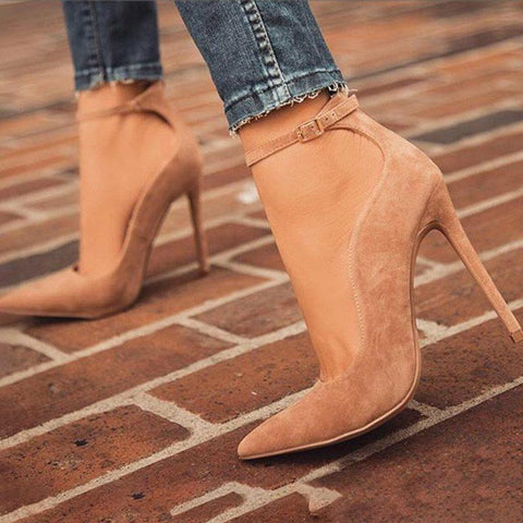 Buckle Stiletto Heel Buckle Pointed Toe Ultra-High Heel Casual Thin Shoes