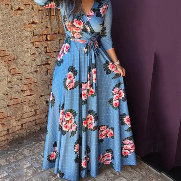 Plus Size Commuting  V Neck Printed Colour Belted Dress