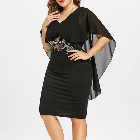 Plus Size Elegant V Neck Embroidery Package Buttocks Dress