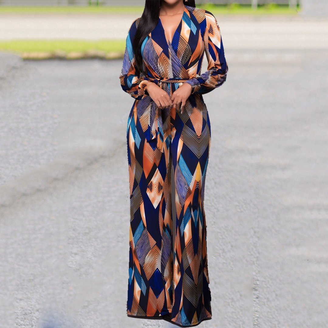 Plus Size Long Dress Geometric V Neck Belted Commuting
