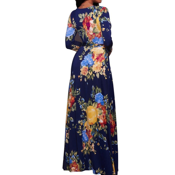 Plus Size Sunflower Dress Printed Colour V Neck Commuting