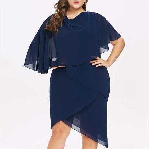 Plus Size Commuting Pure Colour Irregular Dress
