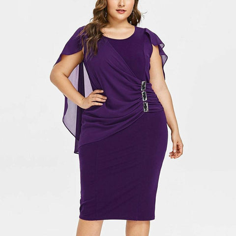 Plus Size Round Neck Chiffon Cappa Irregular Dress