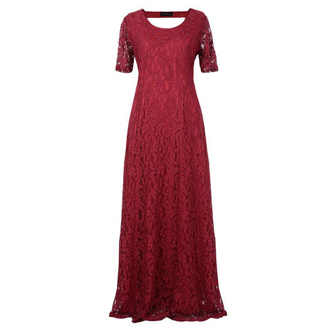 Fashion Square Collar Solid Color Lace Large Size Dress