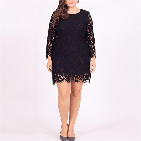 Women's Plus Size Round Neck Lace Openwork Long Sleeve Dresses