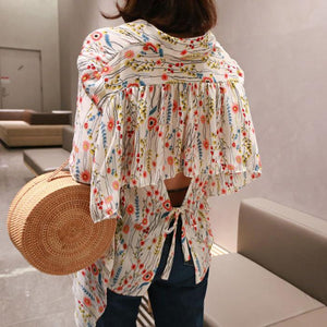 Chiffon Floral Halter Back Irregular Lace-Up Blouse