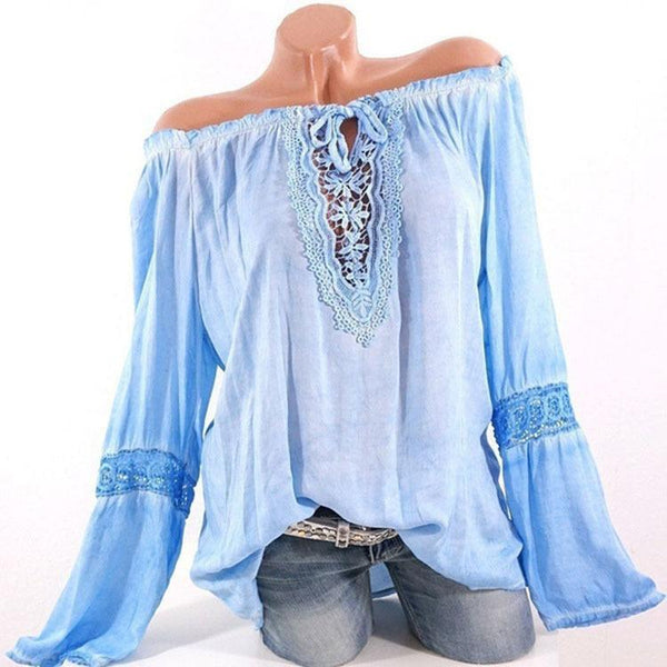 Plus-Size One Word Collar Pure Color Lace Splicing Loose Shirt