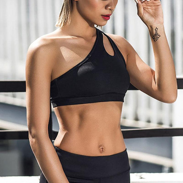 Single Shoulder Hollow Shock-Proof Speed Elastic Fitness Sports Bra