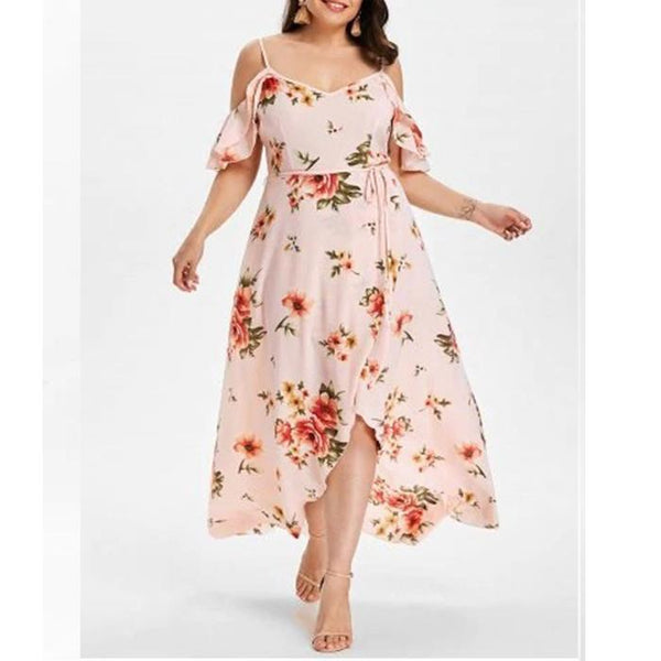Plus-size printed sexy halter short sleeves dress