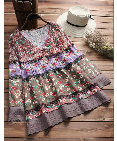 Vintage Floral Print Patchwork V-neck Blouses For Women