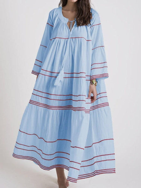 Nine Points Sleeve Print Mid-Calf Expansion Stripe Dress