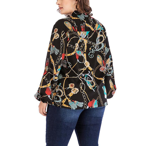 Plus-Size V Collar Frenulum Long Sleeve Printing T-Shirt
